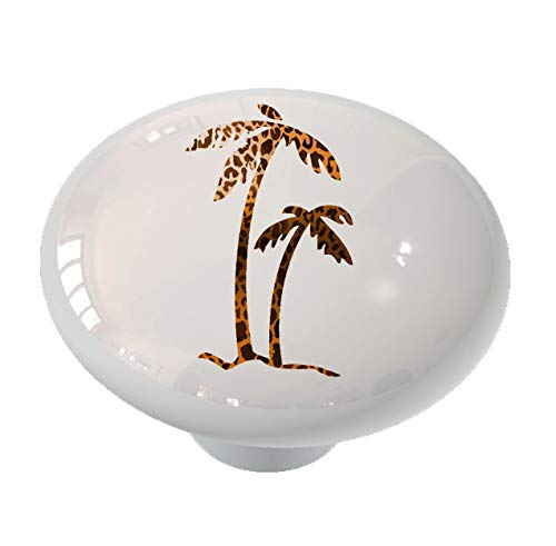 Leopard Print Palm Tree Ceramic Drawer Knob