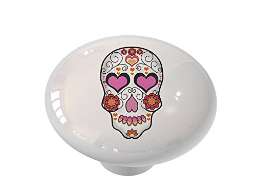 Sugar Skull Heart Ceramic Drawer Knob