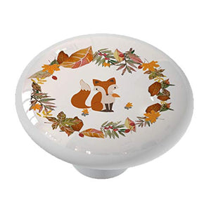 Autumn Fox Wreath Ceramic Drawer Knob
