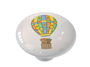 Hot Air Balloon Bears Ceramic Drawer Knob