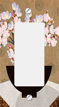 Asian Cherry Blossoms in Bowl GFI Rocker Switchplate Cover