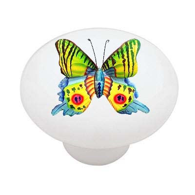Oriental Butterfly Ceramic Drawer Knob