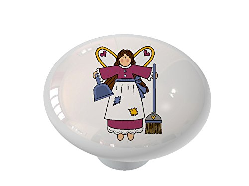 House Cleaning Angel Ceramic Drawer Knob