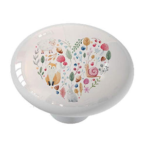 Country Animal Heart Ceramic Drawer Knob