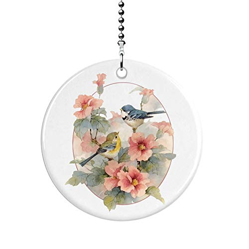 Little Birds Flower Branch Fan Pull