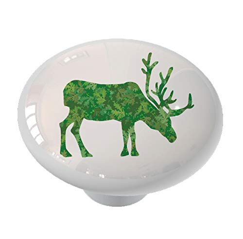 Oak Leaves Elk Ceramic Drawer Knob