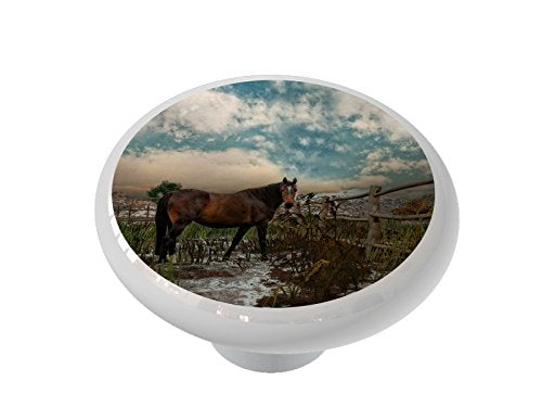 Horse Corral Ceramic Drawer Knob
