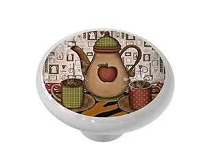 Country Coffee Time Ceramic Drawer Knob