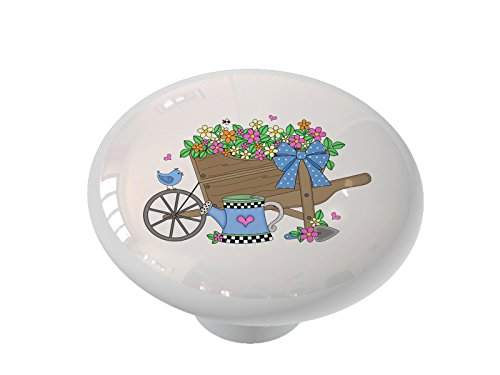 Country Flower Wheelbarrow Ceramic Drawer Knob