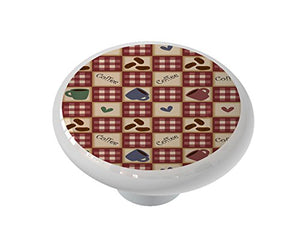 Coffee and Beans on Plaid Ceramic Drawer Knob