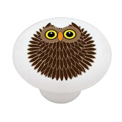 Chubby Retro Owl Ceramic Drawer Knob