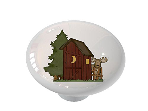 Woodland Outhouse with Moose Ceramic Drawer Knob