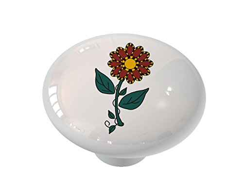 Country Flower Ceramic Drawer Knob
