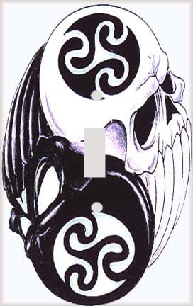 Yin Yang Skulls Switch Plate Cover