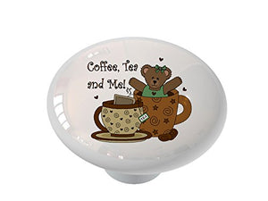 Coffee Tea and Me Bear Ceramic Drawer Knob