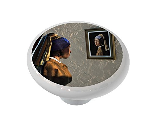 Reflection of a Girl with a Pearl Earring Ceramic Drawer Knob