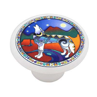 Mosaic Wolf Ceramic Drawer Knob