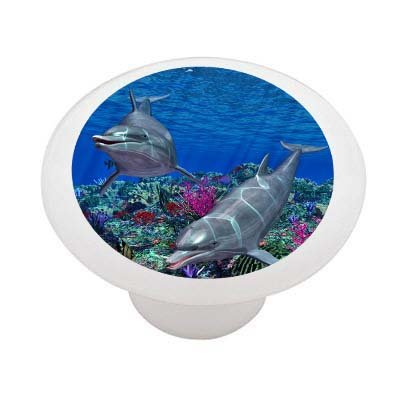 Dolphin Reef Ceramic Drawer Knob
