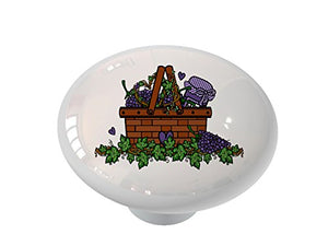 Grape Jam Basket Ceramic Drawer Knob