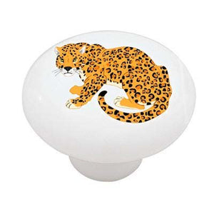 Sitting Leopard Ceramic Drawer Knob