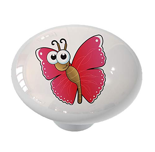 Flying Butterfly Peeper Ceramic Drawer Knob