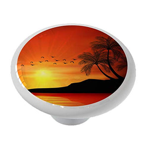 Sunset Palm Trees Ceramic Drawer Knob