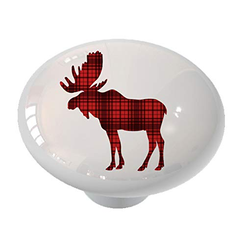 Woodland Moose Silhouette Red Plaid Drawer Knob