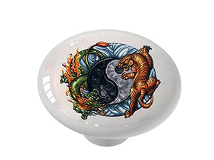 Yin Yang Tiger and Dragon Ceramic Drawer Knob