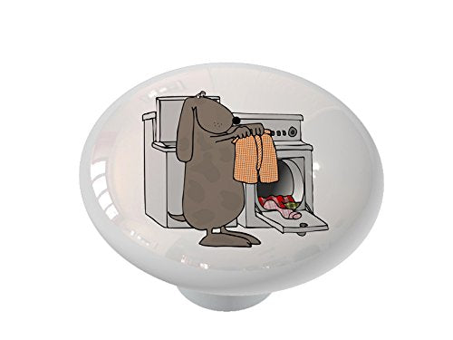 Laundry Dog Ceramic Drawer Knob