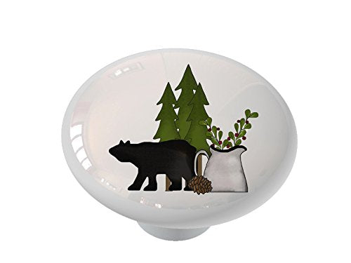 Bear Silhouette with Pine and Berries Ceramic Drawer Knob