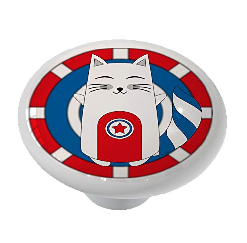 CATain America Cat Ceramic Drawer Knob
