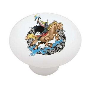 Viking on Horse Ceramic Drawer Knob