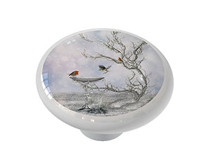 Magical Winter Birdbath Ceramic Drawer Knob