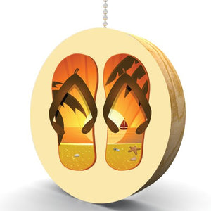 Palm Tree Sunset Flip Flops Hardwood Oak Fan/Light Pull