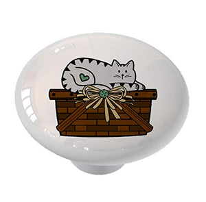 Gray Tabby Cat Basket Ceramic Drawer Knob