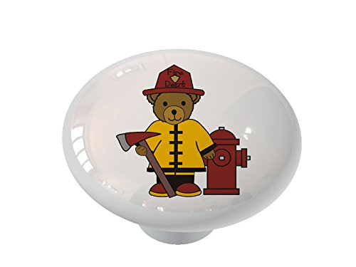 Fireman Bear Ceramic Drawer Knob