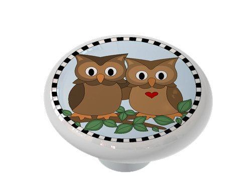 Happy Owl Couple Ceramic Drawer Knob