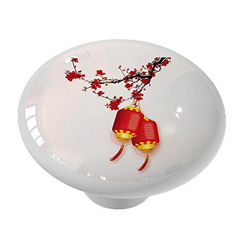 Asian Lanterns and Blossoms Ceramic Drawer Knob