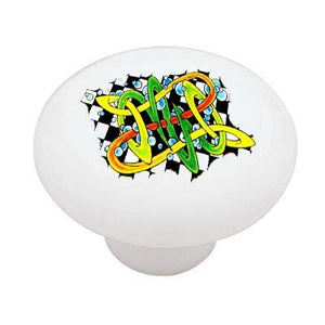 Celtic Grafitti Ceramic Drawer Knob