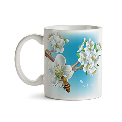 Bee on Almond Blossom 11oz Coffee Mug - Tea Mug