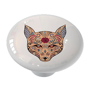 Sugar Skull Dog Ceramic Drawer Knob