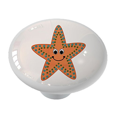 Happy Little Starfish High Gloss Ceramic Drawer Knob