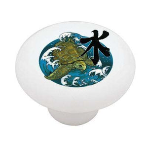 Japanese Wave and Turtle Ceramic Drawer Knob