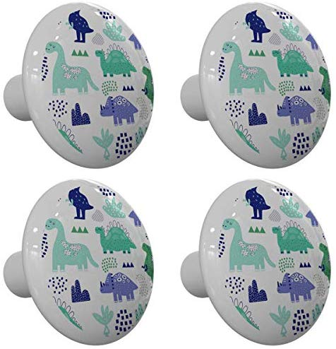 Set of 4 Whimsical Dinosaurs Drawer Knobs