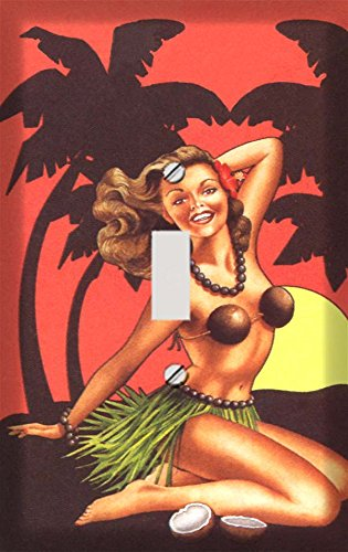Retro Hawaiian Pin Up Girl Switch Plate Cover