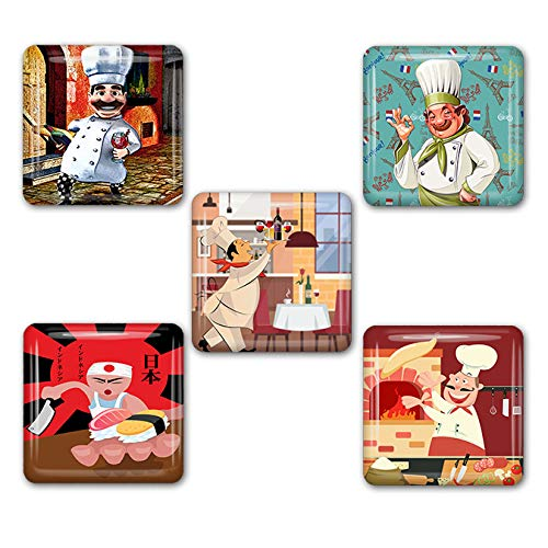 Chefs of the World Square Refrigerator Magnet Set