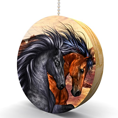 Wild Running Horse Pair Hardwood Oak Fan/Light Pull