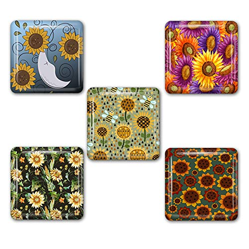 Sunflowers Square Refrigerator Magnet Set