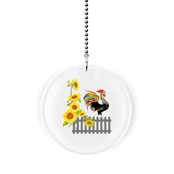Sunflower Rooster Fence Fan Pull