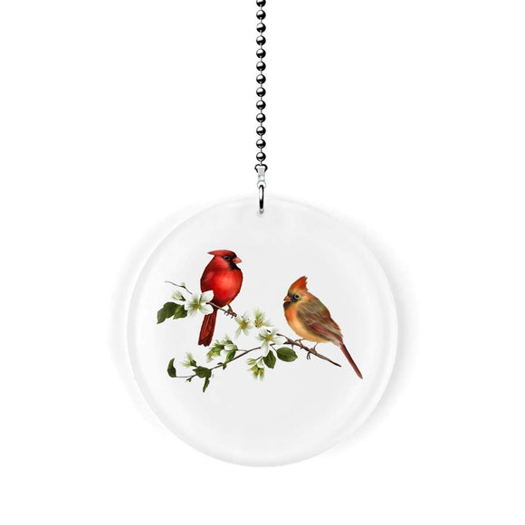 Cardinal Bird Couple Fan/Light Pull